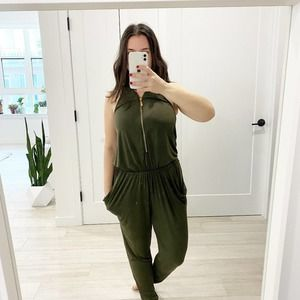 Caribbean Queen Green Zip Pant Jumpsuit Size Small